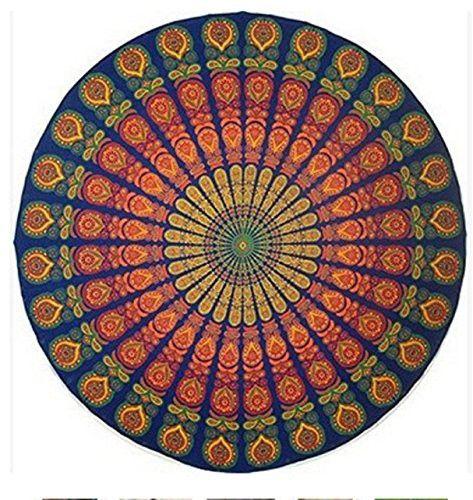 IBTS Indian Mandala Round Beach Throw Tapestry Hippy Boho Gypsy Cotton Peacock Tablecloth Beach Towel Round Yoga Mat (Orange)