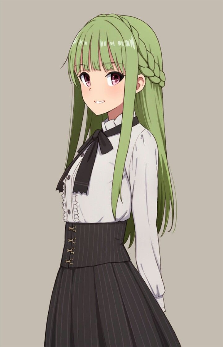 anime girl with green hair