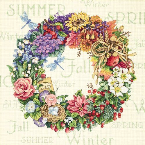 Amazon.com: Dimensions Needlecrafts Counted Cross Stitch, Wreath Of All Seasons: Arts, Crafts & Sewing