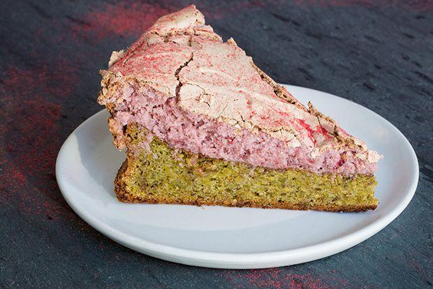 Flourless Pistachio Cake with Strawberry Meringue