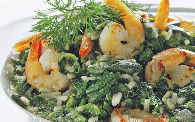 Σπανακόρυζο με γαρίδες - iCookGreek