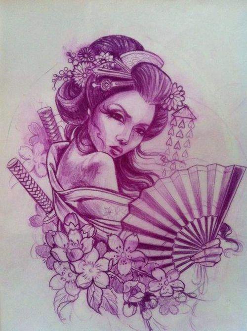 Tatuagem Gueixa com espada e leque Arte tattoo Arte Tattoo - Fotos e Ideias para Tatuagens