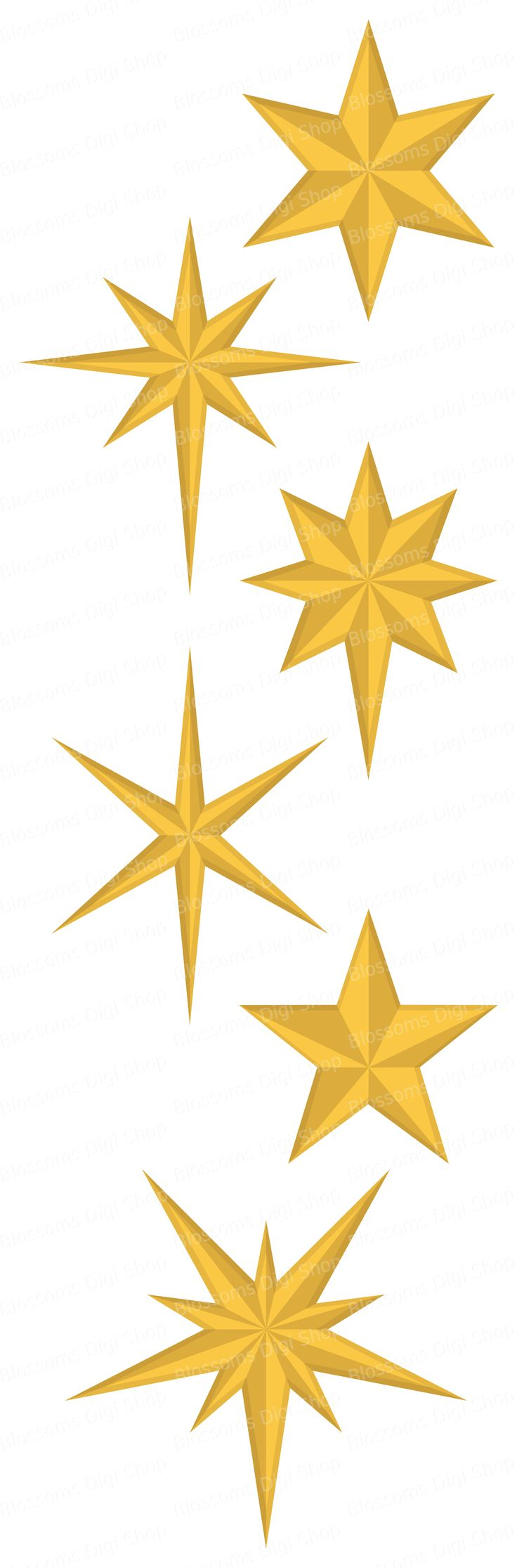 A set of 6 gold christmas stars clipart complete with an EPS file for easy editing.  Available to download at Etsy for personal and commercial use
