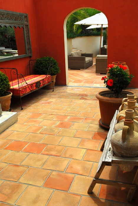 394 best images about color a dash of paprika on pinterest for Spanish courtyard ideas