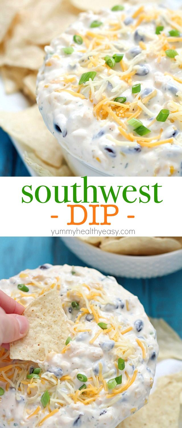 Quick Southwest Dip that's perfect for whipping up when entertaining guests or to devour when watching your favorite TV show. Creamy ranch & southwestern flavors, corn, black beans and cheese - so delicious! #cadairy