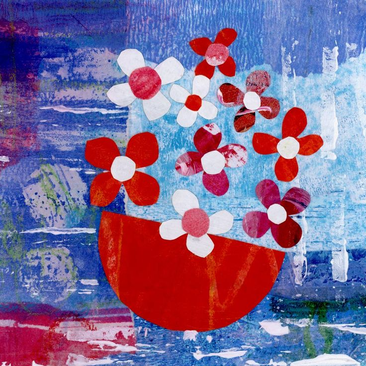 Pinks and Reds - mixed media art by Gill Tomlinson - inspired by Greece & the Mediterranean😎