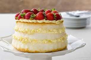 Angel food cake gets layered with fresh strawberries and a creamy pineapple filling.  This is one of our 5-star desserts - try it and you'll know why!