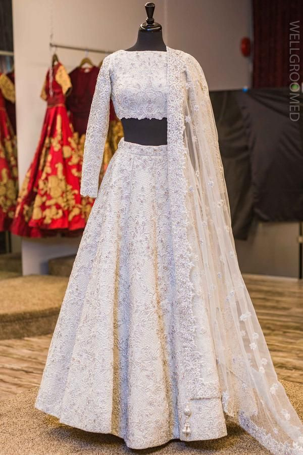 18420057ab White crystal lengha Embellished with stone work and resham embroidery |  harleen in 2019 | Bridal lehenga, Indian dresses, Bridal outfits