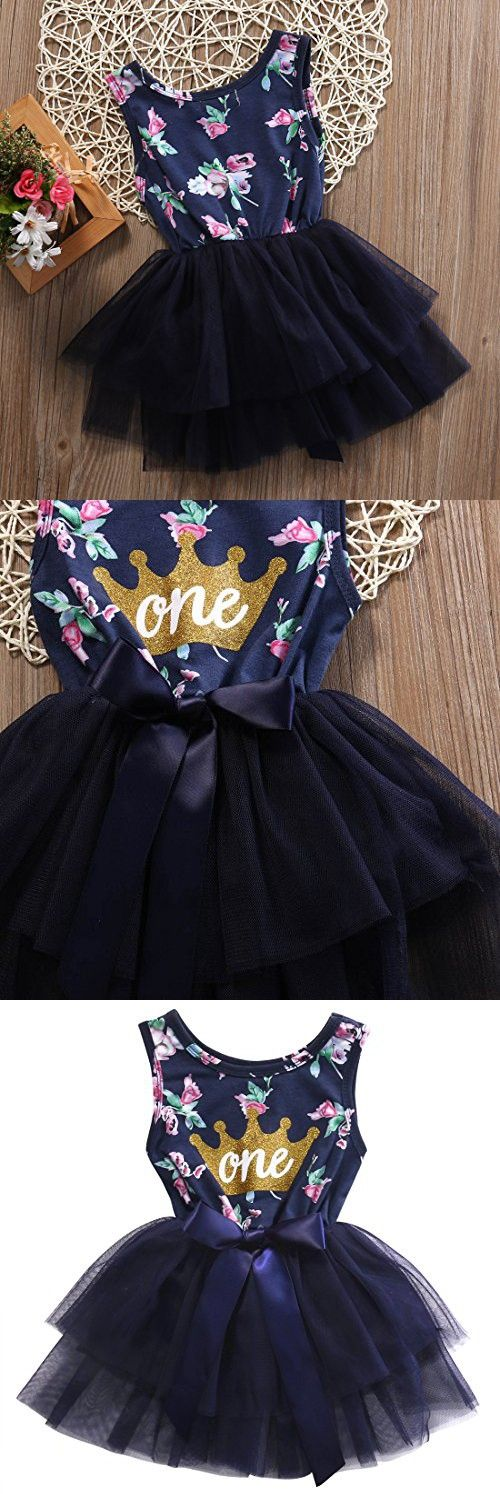 Newborn Baby Girls Skirt Sleeveless Floral Crown Print Tutu Lace Princess Dress (12-18m, Navy Blue)