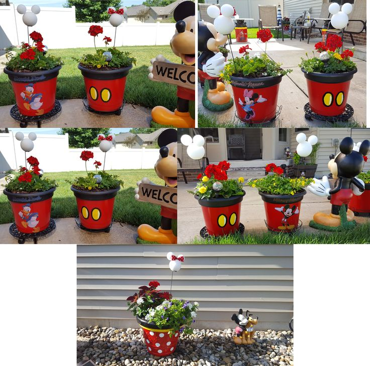 Thanks to Buzz Feed (see other post) for showing me how to make the yellow buttons to make Mickey planters. I added Disney characters to the opposite sides. The Disney characters are at both Home Depot and Kmart. They are all decorations. They are the type that can be removed and adjusted if needed. I decided to keep the Mickey and Minnie heads white since I have a white light Mickey Mouse lamp post in the backyard.... see my other post.