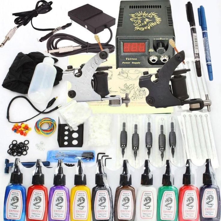 New 400 Pcs Tattoo Machines Kit Complete Set 2 Gun 10 Ink Power Supply Needles