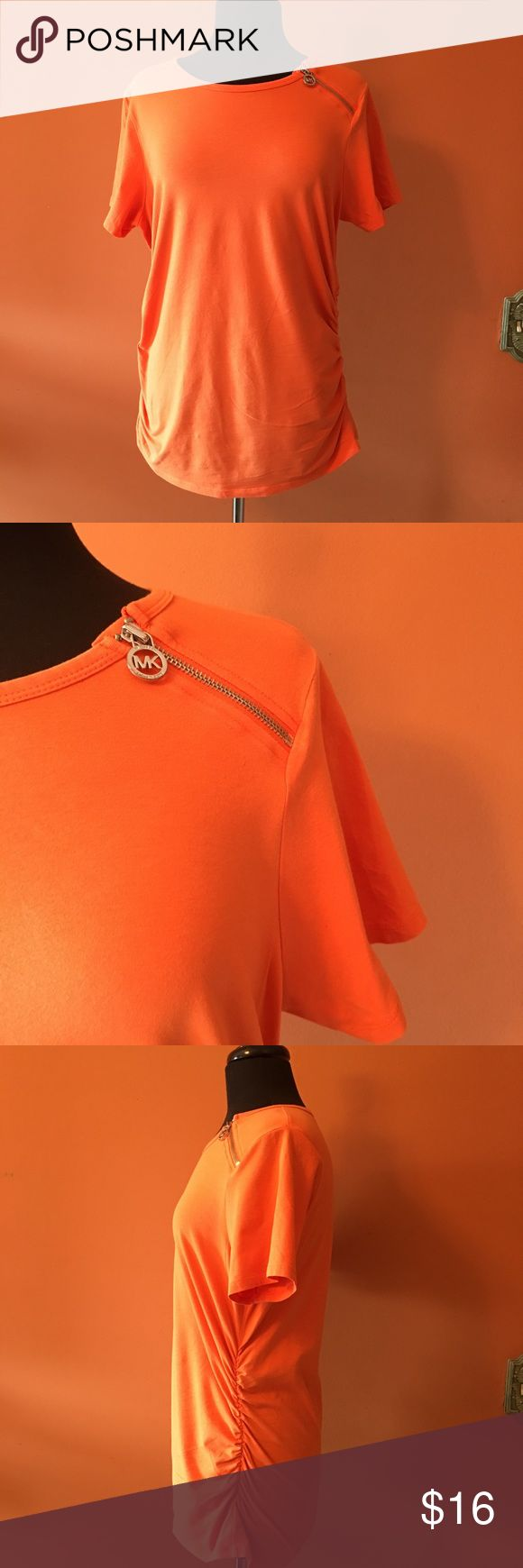 MICHAEL Michael Kors Orange Zipper Tshirt Cute orange plus size top in good condition, subtle ruching and one shoulder zipper, size 1X MICHAEL Michael Kors Tops Tees - Short Sleeve
