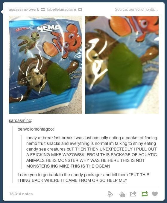 ZOMG! They found the Monsters Inc Easter Egg in Finding Nemo off screen! (hint: check the credits)The rest of the pix are rather cool too!