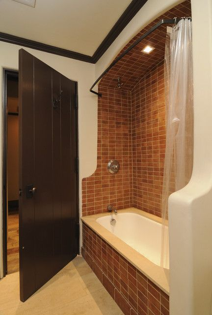 : Sleek Mediterranean Bathroom Design With Darkwood Door And Unique Shower Curtains Made From Plastic With Black Rod