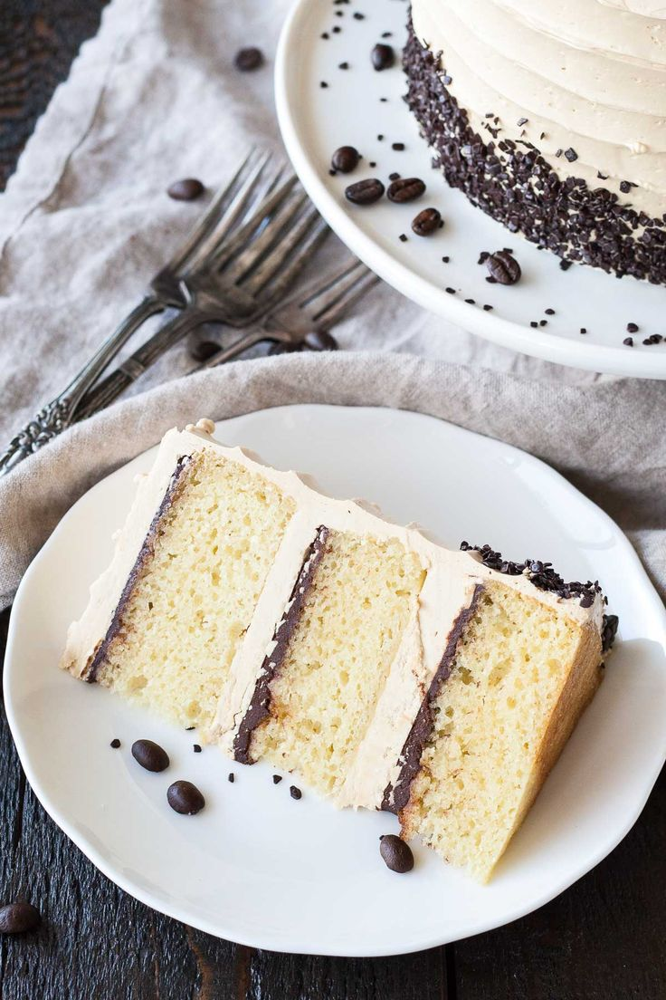 The perfect pairing of coffee and Baileys in this delicious layer cake. A vanilla buttermilk cake layered with chocolate ganache and a coffee Baileys swiss meringue buttercream.   livforcake.com