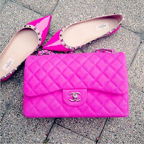 valentino rockstud flats & neon pink chanel flap