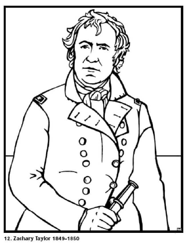 Zachary Taylor 12th President Of The United States Free Printable Coloring Sheet Click To