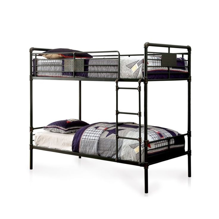furniture of america bryon full over full bunk bed in antique black - Full Size Bed Frames For Sale
