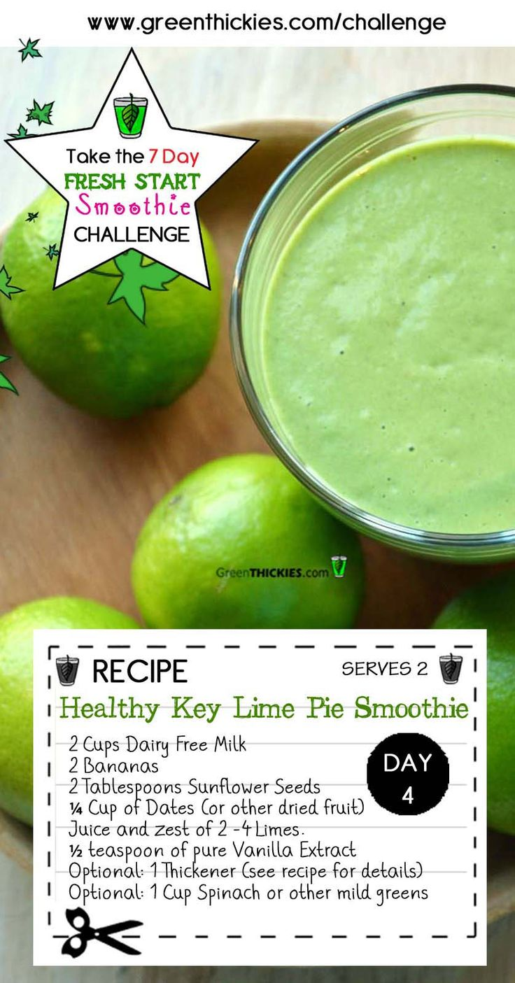 This Gorgeous Filling Healthy Key Lime Pie Smoothie is one of the delicious smoothies on the FREE 7 Day FRESH START SMOOTHIE CHALLENGE.   Join the Challenge, FREE now!
