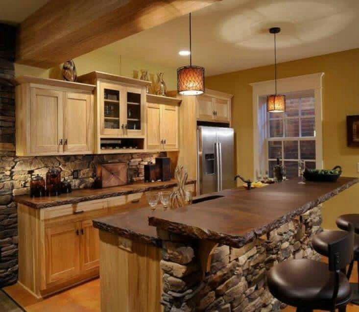 Ideas outstanding rustic kitchen island table with natural stone kitchen backsplash ideas and natural stone kitchen countertop ideas also clear glass