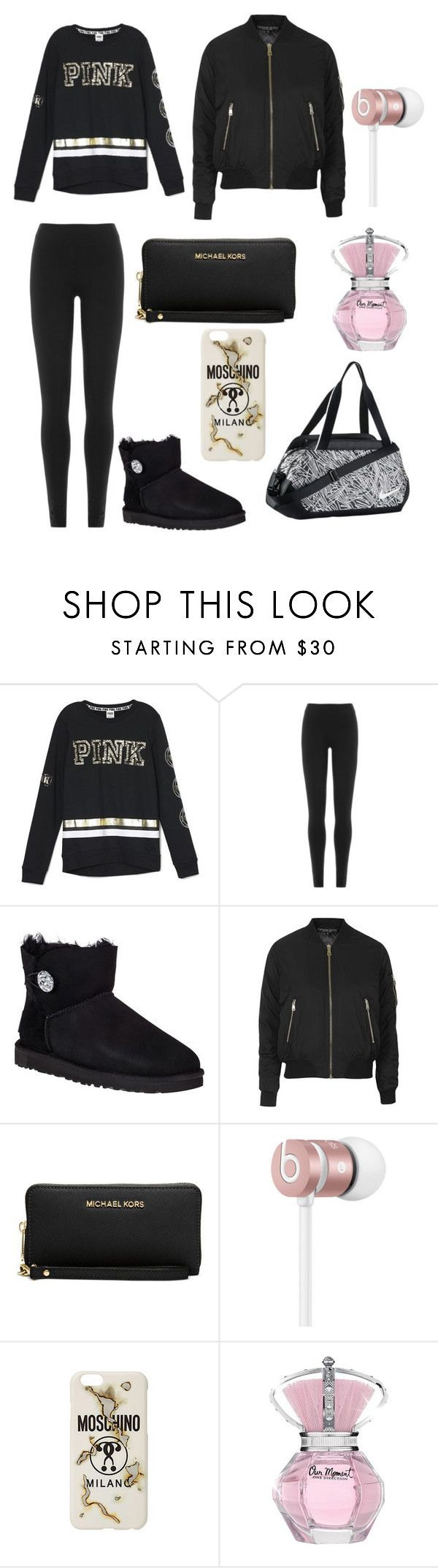"""Getting To Cheerleader Training "" by directioners269 ❤ liked on Polyvore featuring Victoria's Secret, DKNY, UGG Australia, Topshop, Michael Kors, Beats by Dr. Dre, Moschino and NIKE"