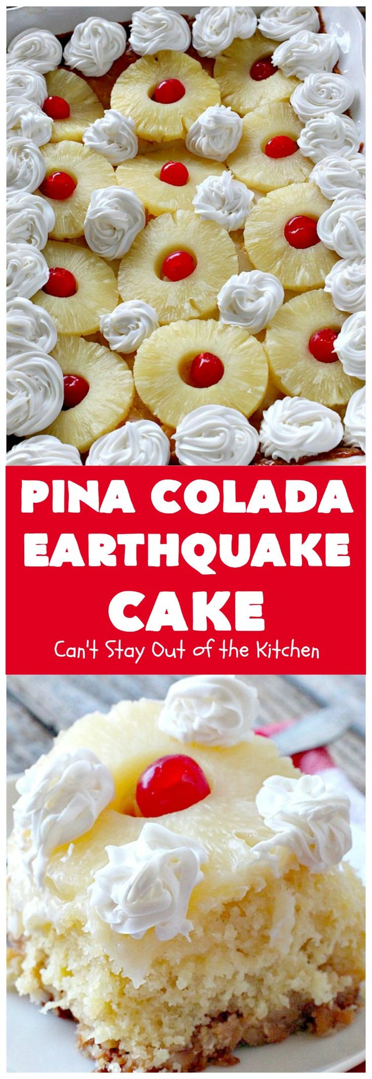 Pina Colada Earthquake Cake   Can't Stay Out of the Kitchen   best #cake ever! This heavenly #dessert is filled with #pineapple, #coconut, macadamia nuts & vanilla chips. #Creamcheese frosting bakes into the cake causing it to crater, erupt & explode in an earthquake! Perfect for #holidays or special occasions.