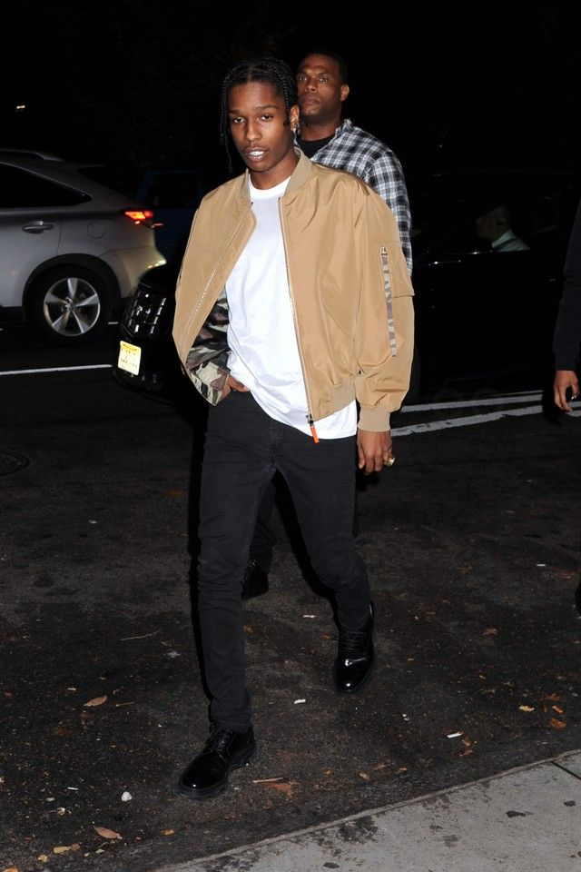 ASAP Rocky wearing  Dior Nylon Bomber Jacket, Dior Insect Embroided T-Shirt, Dior Derby Contrast Sole