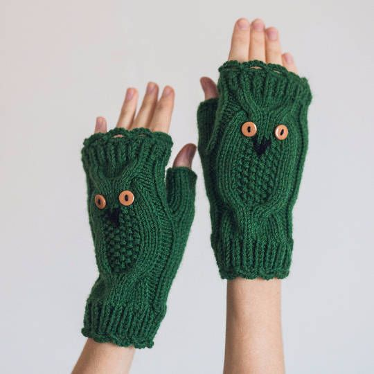 Hand Knit Owl Mittens Green Purple Winter Fingerless Gloves