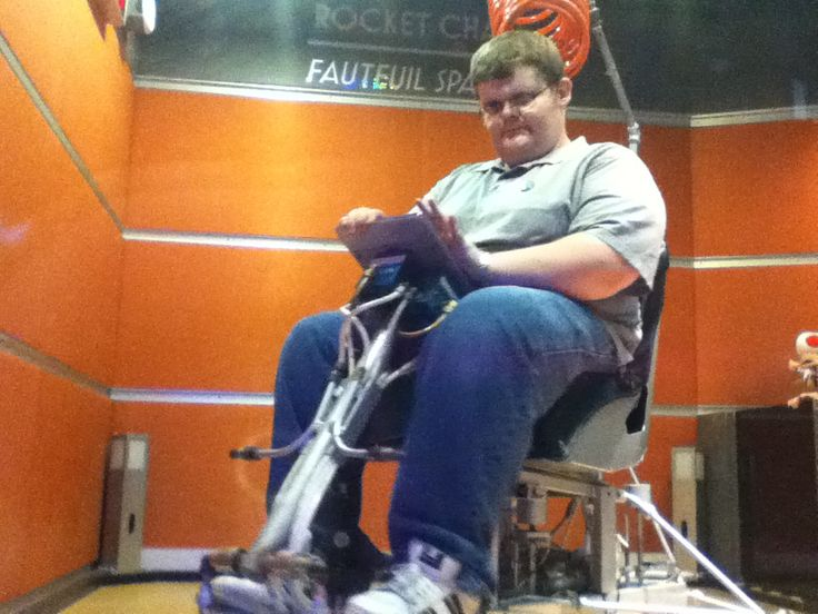 Fatman trying to control the space chair. It's a lot harder then it looks!