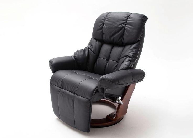 Relaxsessel Calgary 2 Leder Schwarz Walnuss 8848. Buy now at https://www.moebel-wohnbar.de/relaxsessel-calgary-2-fernsehsessel-leder-schwarz-fuss-walnuss-8848