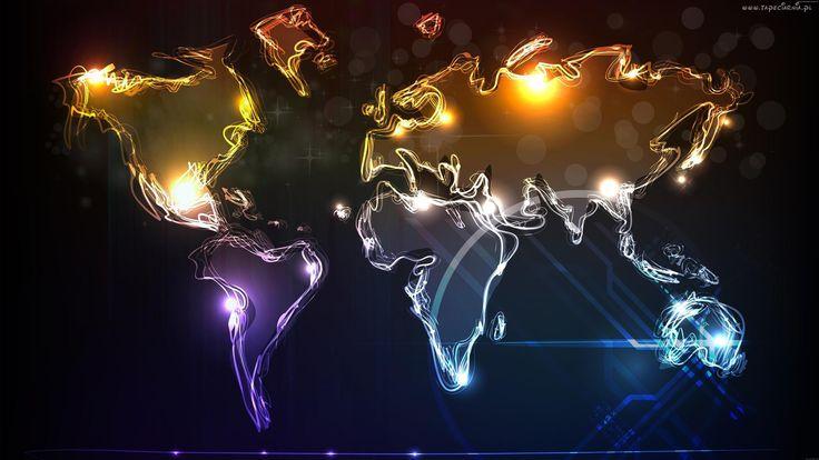 Mapa Świata, Czarne Tło, Grafika Komputerowa 3D