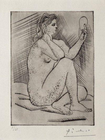 Pablo Picasso (1881-1973) - Woman with Mirrow (Femme au miroir), 1922  drypoint