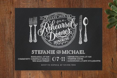 Chalkboard Place Setting Rehearsal Dinner Invitations by Laura Bolter Design at minted.com