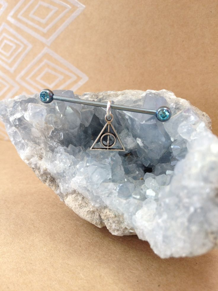 Industrial Piercing Barbell with 'Deathly Hallows' Dangle by DarlingDyesApparel…