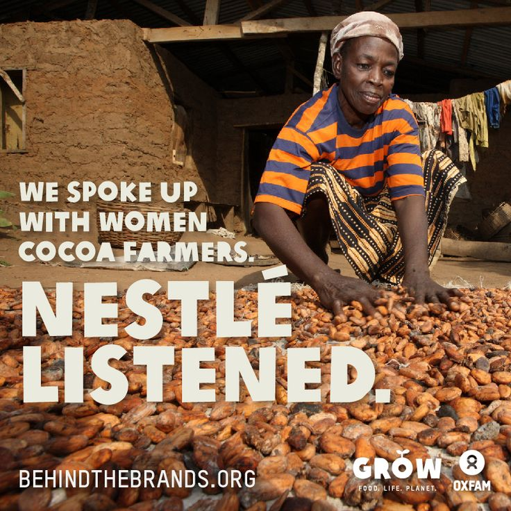 After more than 65,000 people took action to urge chocolate companies to do the right thing for women cocoa farmers, Mars and Nestle have today made commitments to begin to tackle the inequality, hunger and poverty faced by women in their cocoa supply chains. Mondelez International, which controls 15% of the global chocolate market, has yet to follow suit in spite of consumer pressure. More at www.oxfam.org/behindthebrands