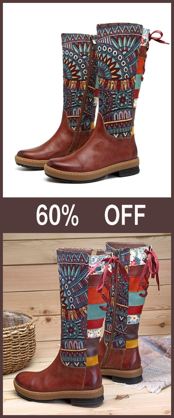 SOCOFY Embroidery Splicing Pattern Flat Leather Knee Boots#shoes #embroidery #boots