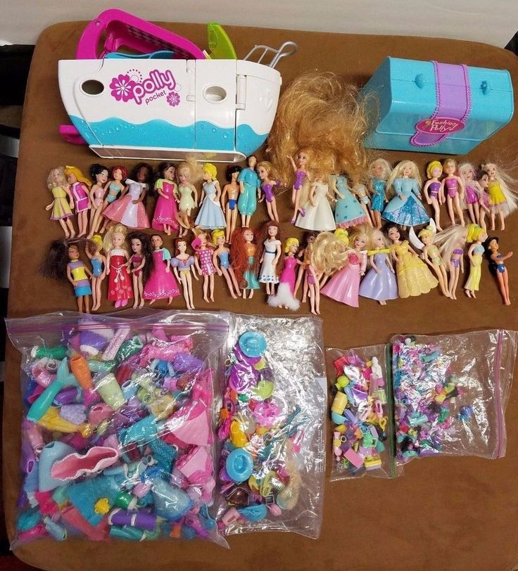 Huge Polly Pocket Lot over 300 pieces Disney Princesses Dolls Cruise Ship  #Mattel #DollswithClothingAccessories