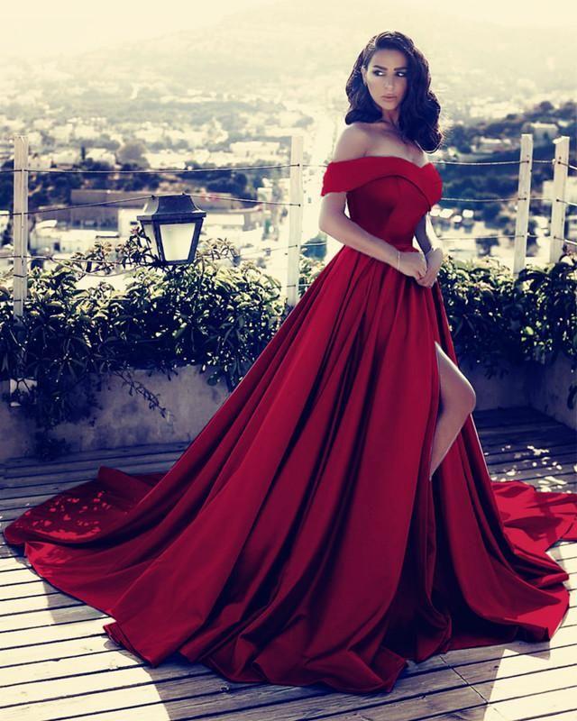 ... Court Train Blue Satin Prom Dress with Pockets Split. Off Shoulder Long  Satin Prom Dresses 2018 Formal Evening Gowns 8b1d24e7353d