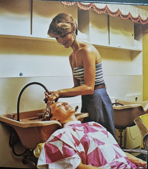 vintage hair salon lady in the shampoo chair retro. Black Bedroom Furniture Sets. Home Design Ideas