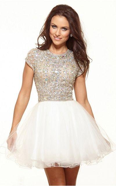 Zipper Short Natural A-line Mesh Formal Dresses anbb2129