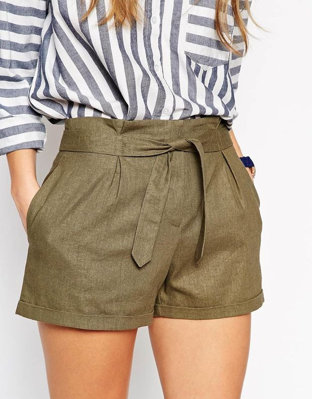 ASOS Linen Belted Short