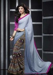 Casual Wear  Georgette Grey Lace Border Work Saree