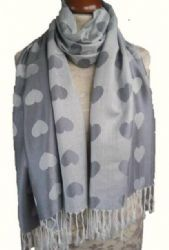 L'Amour -  Grey Heart Pashmina Scarf