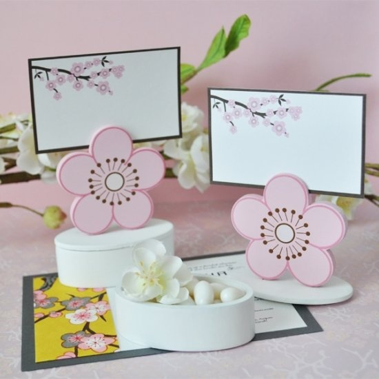 cherry blossom place card favor boxes with designer place cards set of 12