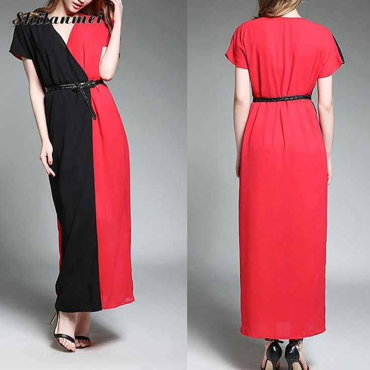 >> Click to Buy << Chiffon Front Slit A-line Women Dress with Belt Patchwork Red Black T Shirt Maxi Dress 2017 Summer Elegant Office Dress Women #Affiliate