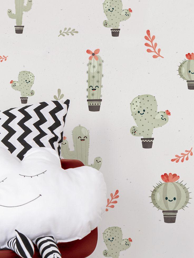 """Papier-peint """"Les Cactus"""", disponible en vert olive, mais aussi en bleu !  #papierpeint #original #whitebed #confy #luxury #modern #bedroom #bathroom #Paris #Appartment #DIY #Renovation #Artisanal #Exclusif #Livingroom #idea #design #architecture #la #customize #wall #blog #décor #pattern #home #kids #enfant #kidsroom #rabbit #sticker #wallsticker #trendy #luminaire #tapis #enfance #nurserie #babyroom #renovation #fresque #autocollant #mur"""