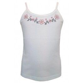 Leuk wit topje van Eternal Creation, fair trade fashion. Mooi afgewerkte halslijn met geborduurde bloemen. Gemaakt van 100% katoen.