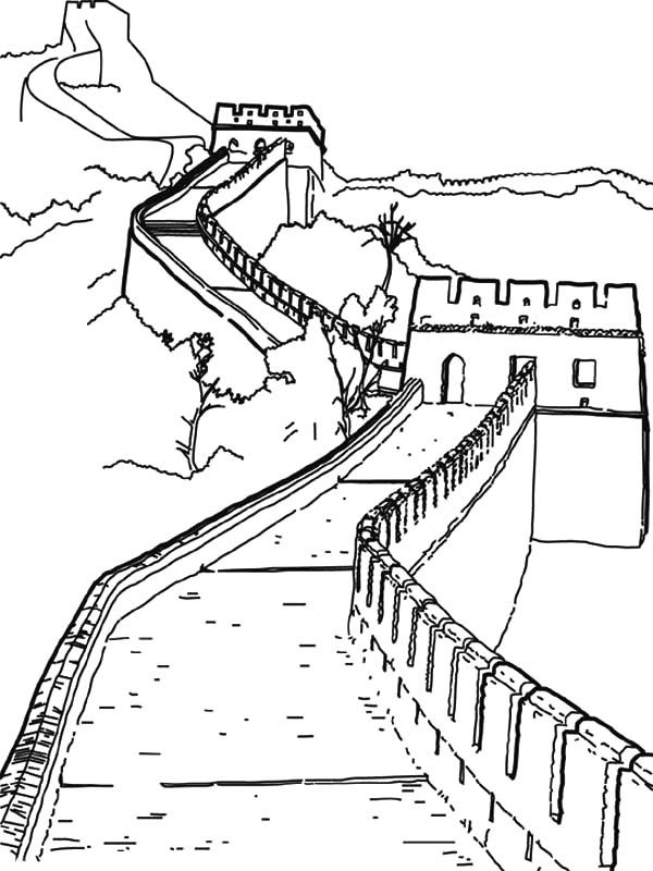 Chinese art coloring pages ~ Worldwonders Great Wall China Coloring Pages | Batch ...