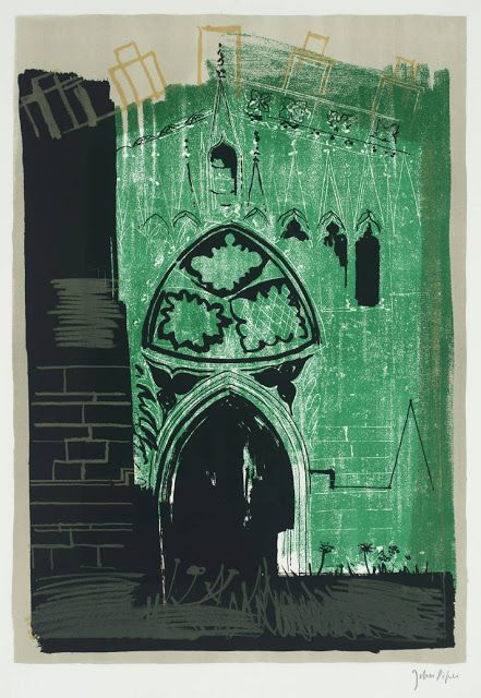 ✽    john piper  -  'gaddesby, leicestershire  -  medieval stonework'  -  lithograph from 'a retrospective of churches'