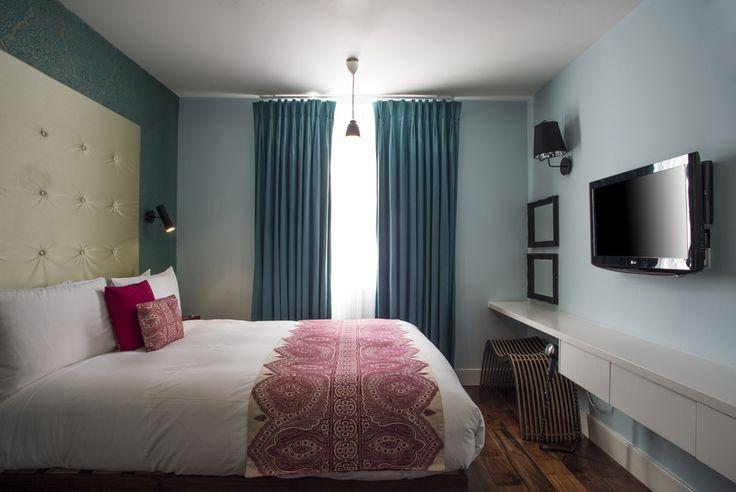 Apartment 7's super-blue bedroom
